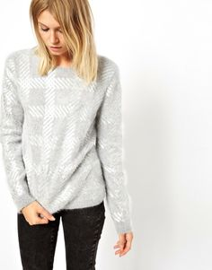 ASOS Sweater In Angora With Foil Print