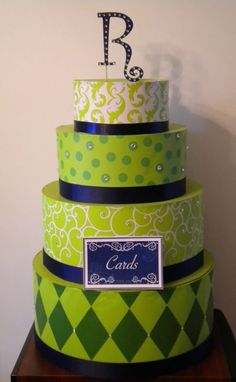 faux cake - card box - lime & navy