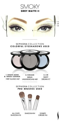 SMOKY: Grey Matte 2 HOW TO. #sephoracollection #sephora #makeup #eyeshadow