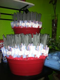 Sparklers sets in buckets, made great display until  dark...  Dollar tree bucket and with Styrofoam  cut to fit, so the sparklers would stand upright.
