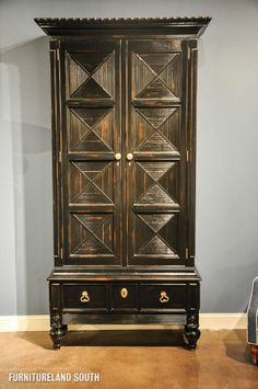 Marge Carson Martinique Bar Armoire in Distressed Ebony Finish