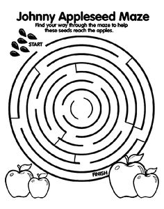 FREE Johnny Appleseed Maze coloring page.