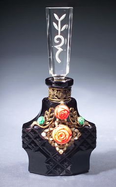 Czechoslovakian perfume bottle, circa 1920s, in black crystal