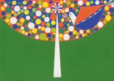 Gorgeous bird + tree ilustration by Matsue Maiko. 雨宿り(2013)