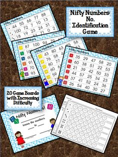 Number Identification Game. 20 different game boards with increasing difficulty. Student's Recording Sheet and Finishing Certificate.  Beneficial for early learners.