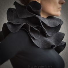 Nuno felted ruffle shawl / wavy scarf Elegance in charcoal by vart, $178.00