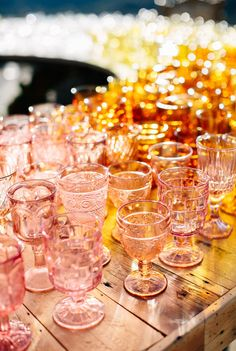 a rainbow of vintage glassware for guests