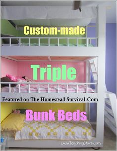 The Homestead Survival   Triple Bunk Beds: How to Build Project   Homesteading & Frugal DIY Project Building
