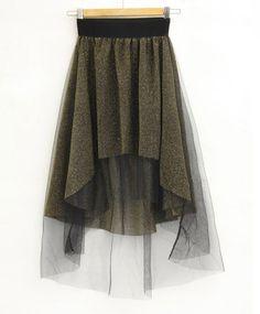 Solid Stiching Yarn Ball Gown Irregular Skirt Golden