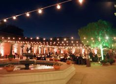 galleries, decks, fountains, string lights, patio, blues, globe, backyards, parti