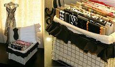 Craft Room, Studio, Scrap Room.    Decorative trim in DIY chicken wire basket