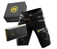 "Mbody, ""Muscle sensing smart shorts."" Monitors muscle load, balance and distribution. MShorts have textile sensors for #EMG of quads and hamstrings. MCell (attaches to shorts) has 3D accelerometer, Bluetooth. From Myontec."