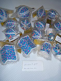 LOT 17 1960s MIB Blue FLOWER ORNAMENTS Japan Fabric Co
