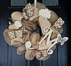 Deco mesh wreath- burlap wreath- spring wreath-monogrammed spring wreath - wreath on Etsy, $60.00