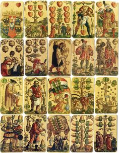 Satirical card deck designed by Peter Flöttner of Nuremberg, c.1545. Block-cutter/publisher: Franz Christoph Zell. Woodblock print with watercolor and gold highlights. We sell our version of this deck at http://historicgames.com/RPcards.html