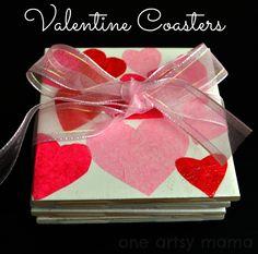 One Artsy Mama: Valentine's Day Heart Coasters