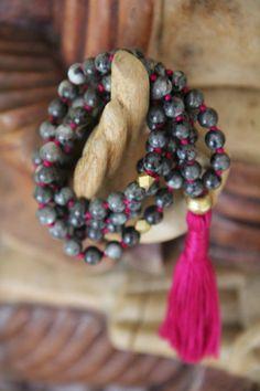transition & trust, blue labradorite gemstone mala, 108 bead knotted meditation necklace, yoga jewelry