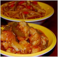 Gobi Manchurian (low-fat) And Stir-Fried Noodles