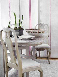 Antique Swedish table & chairs