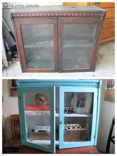 Before & After: Vintage glass-front cabinet