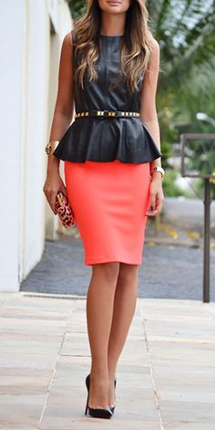 Black peplum with coral pencil skirt... this is my kind of business professional attire Fashion, Peplum Tops, Color Combos, Dress, Pencil Skirts, Work Outfits, Professional Attire, Colored Pencils, Shirt