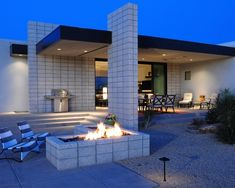 corner cinder fireplace