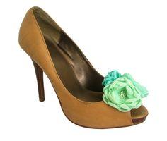 mint green, flower shoe, shoe clips, bridal flowers, three shade