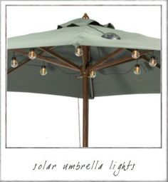Solar umbrella lights...a great idea to incorporate into your outdoor soiree!