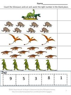 Counting Fun With Dinosaurs Cut and Paste Worksheet Set-Strong counting skills will help students progress to a strong math foundation. Combine that with their love of Dinosaurs and they will have fun practicing their counting skills. This Counting Fun With Dinosaurs Cut and Paste Worksheet Set will satisfy that fascination and provide fun while learning. dinosaur worksheet, dinosaur book, kindergarten dinosaur, teacher dinosaurs
