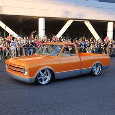 orange silver slammed 1967 chevy C10