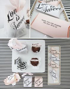 "Free printable ""Love is Sweet"" tags and favor boxes.  SO cute for Valentine's Day or Wedding favors."