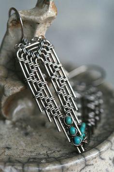 Silver Wire Wrapped Feather Shaped Earrings by FlowSilverJewelry, $50.00