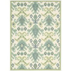 patterned area rug (blue, green, ivory)
