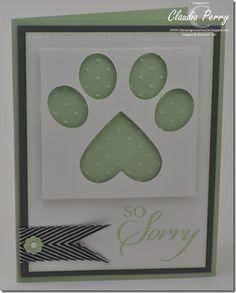 Sweet Paw Print Pet Sympathy Card...Claudia Perry: Stamping in Columbus. GA.