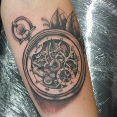 pocket watch tattoo | Skeleton Pocket Watch Tattoo by NiallMc