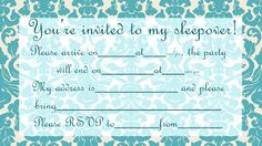 It's simple, but it's very classy and looks kinda French - if you're planning a girlie slumber party - then this invitation might be just what you were searching for. Click on it to see it full size, then print an invite for every guest you plan to invite. They're free.