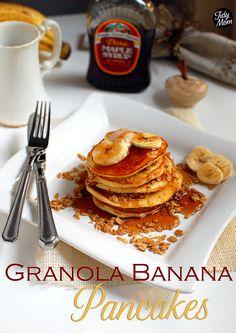 Granola Banana Pancakes with Cinnamon Honey Butter