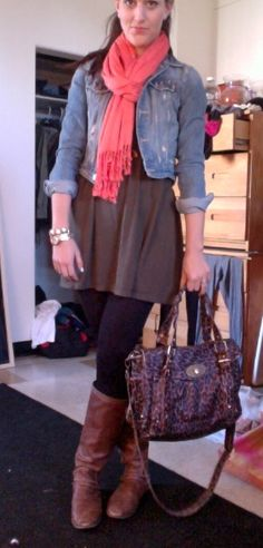 Laid-back casual. Complete with boots, a cotton dress, scarf and jean jacket.