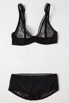 geo mesh bra + panty. anthropologie.