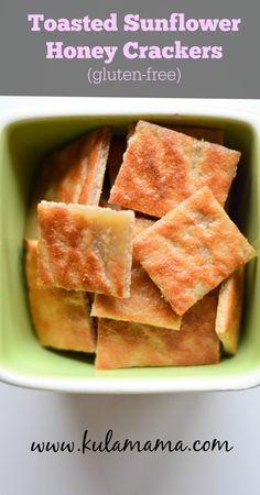 Gluten-free, Dairy-free Toasted Sunflower Honey Crackers