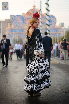 In costume during the Feria de Sevilla.