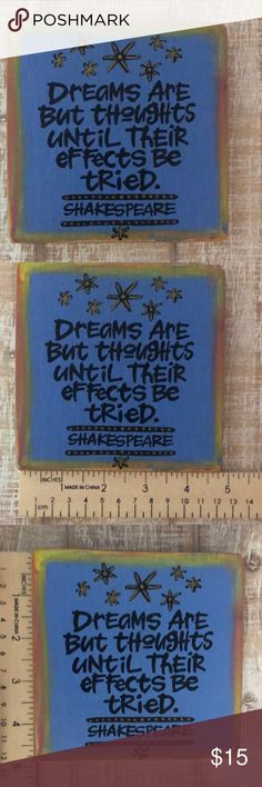"INSPIRATIONAL Dreams Art Piece 5x5"" Cute piece from a craft fair. Wall Art Art & Decals"