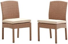 Strathwood Griffen Wicker Armless Chair (Set of 2), Natural