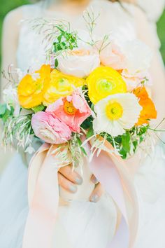 """Spring Love"" was the inspiration for this styled shoot -- See more  here: http://www.StyleMePretty.com/2014/04/07/cheerful-spring-inspiration-shoot/ -- Photography: AvecLamourPhotography.com  -- Bouquet: VoFloralDesign.com -- on #SMP"