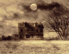 old homes, halloween decorations, moon, shadow, haunted houses
