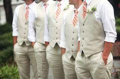Beige linen suits with vests and tie