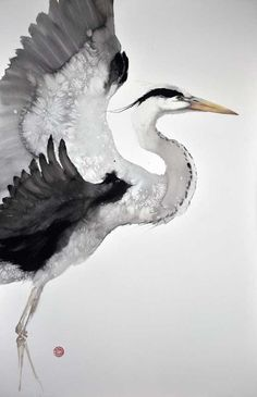 heron watercolor, karl martens, heron art, bird art, karl mårten, anim art, black, illustr, watercolor heron
