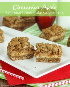 Cinnamon Apple Oatmeal Cheesecake Cookie Bars