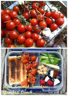 Yumbox Panino lunch with seasonal roasted tomatoes, tuna panino, capers, green peppers, wedge of pecorino cheese, berries, fresh coconut and toasted hazelnuts. Simple, healthy eating is ideal for hot summer days. #healthylunch #Yumbox #weightloss