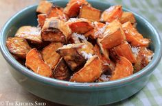 Clean Eating Roasted Coconut Sweet Potatoes - My kiddos love this sweet and satisfying side dish. #cleaneating #eatclean #glutenfree #vegan #coconutoil